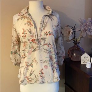Wet Seal light cream flowery shirt elbow sleeve